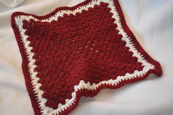 Garnet Cat Mat -- Granny Square Pet Blanket in a Rich Red Hue
