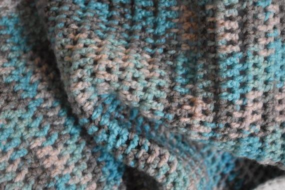 Baby Blue, Gray, & White Gradient Crochet Baby Blanket