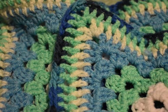 Mint, White, & Gradient Blue Cat Mat -- Granny Square Crochet Pet Blanket