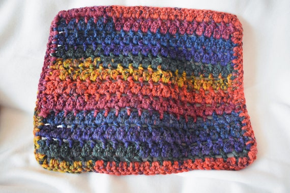 Rich Rainbow Gradient Crochet Cat Mat -- Pet Blanket Handmade with Vibrant & Cozy Multicolor Yarn