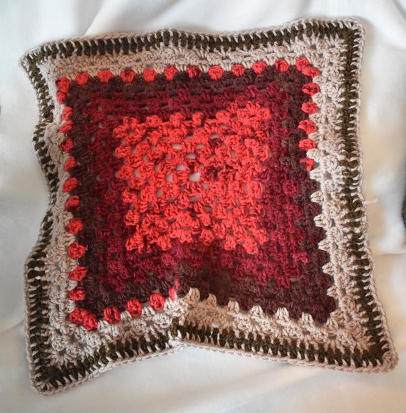 Ruby & Sand Crochet Cat Mat -- Granny Square Pet Blanket in Rosy Reds and Sandy Browns