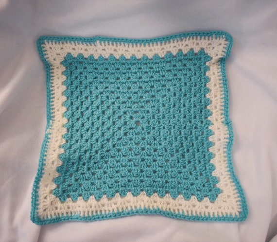 Aquamarine Cat Mat -- Granny Square Pet Blanket in a Rich Light Blue & White