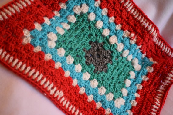 Red, Blue, Teal, & Heather Gray Pet Carrier Liner -- Granny Square Style Crochet Cat Mat