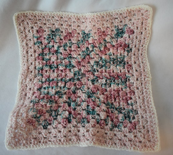 Oversized Gradient Pink, Soft Green, & Teal Cat Mat -- Granny Square Pet Blanket featuring White, Pink, Green, and Teal
