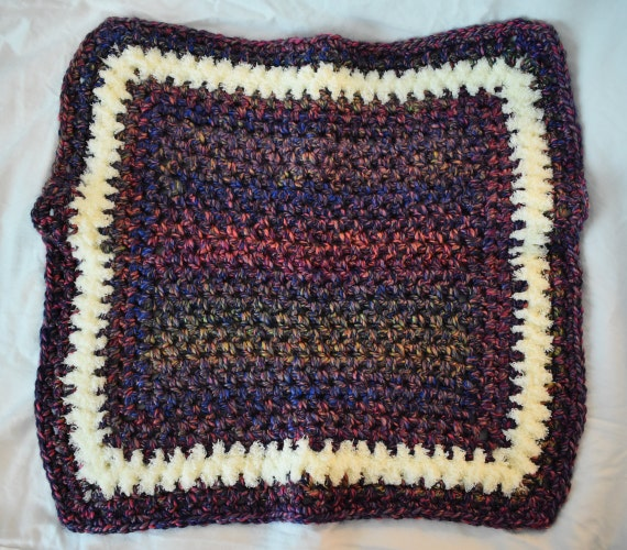 Soft Blue, Purple, & Fuzzy White Crochet Cat Mat