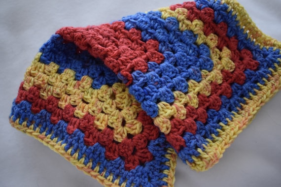 Popping Primary Crochet Cat Mat-- Granny Square Style Pet Blanket