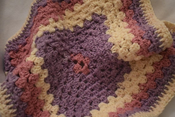 Cupcake Crochet Cat Mat -- Square Granny Square Pet Blanket in Soft Pink & Lavender