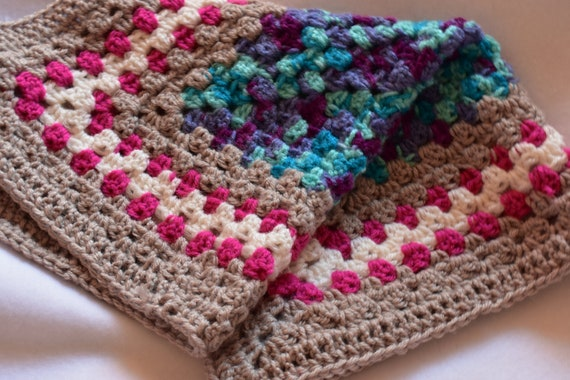 Oversized Gradient Purple-Blue Cat Mat -- Granny Square Pet Blanket featuring White, Tan, Pink, Purple and Teal