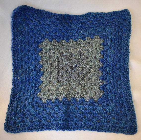Cerulean & Teal Crochet Cat Mat featuring Super Soft Yarn