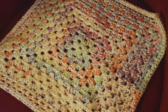 Sunset Cat Mat -- Granny Square Pet Blanket With Bright Yellows, Green, Oranges, & Plum