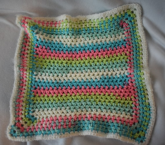 Vibrant Pastels Crochet Cat Mat -- Cuddly Pet Blanket in Pink, Green, & Blue with Fuzzy White