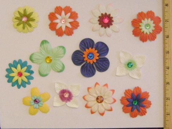 Handmade paper flowersset of 12 diy scrapbooking etsy image 0 mightylinksfo