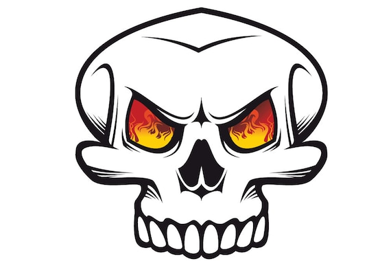 Skull With Fire Eyes Vinyl Decal