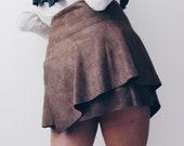 Asymmetric brown vegan suede skirt layered faux-suede skirt High Waisted Retro mini skirt