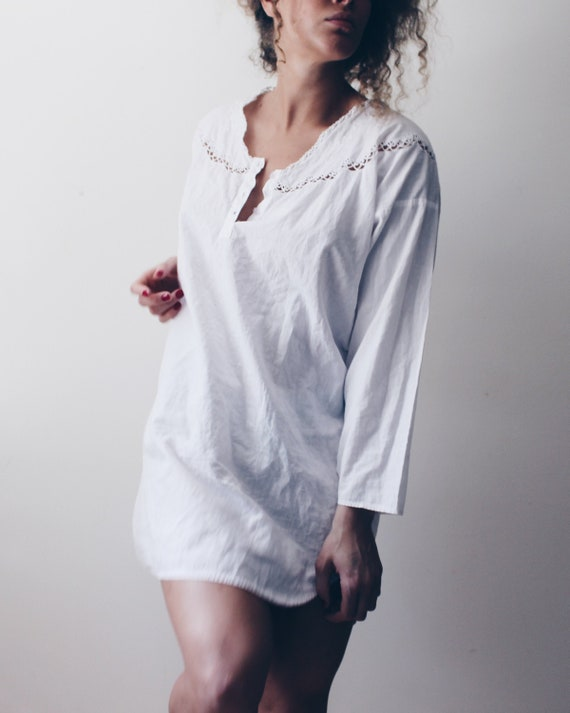 Medium embroidered Shirt Dress Nightgown blouse shirtdress Off white victorian night blouse