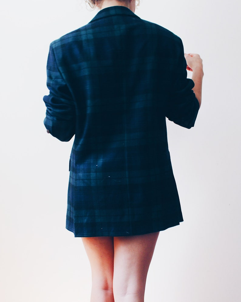 Dark Green and Blue Plaid Blazer   70s Business Suit Jacket  striped prep school coat
