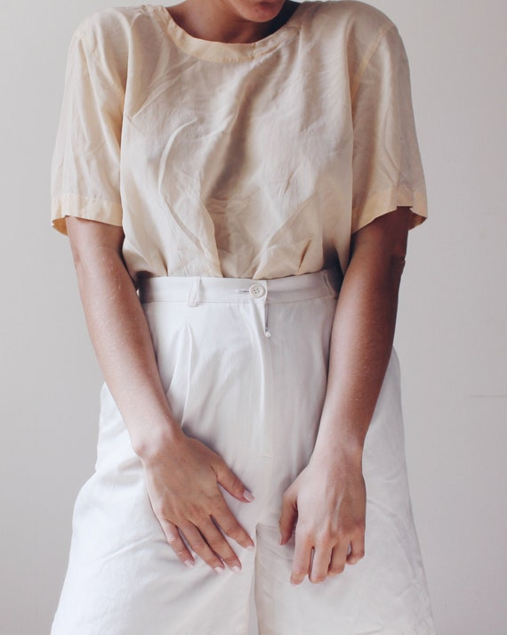 Short sleeved cream silk blouse / Small ivory Vict