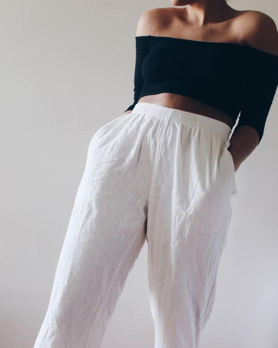 Casual white  summer khaki pants / elastic waist r