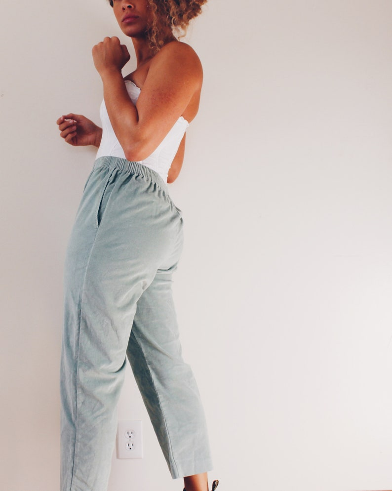 Mint Velvet Cord Pants  Green Corduroy Pants Velvet Trousers  Androgynous Fashion  90s elastic waist corduroy Slacks