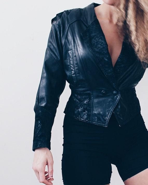 Black leather 80s jacket / vintage 80s biker jacke