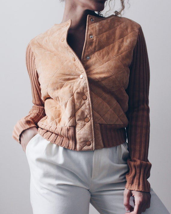 Leather Quilted 70s ski sweater / burnt orange kni