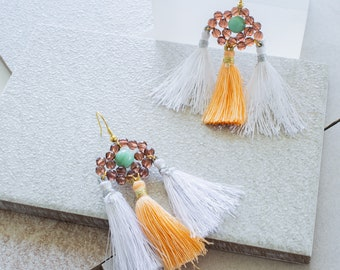 White, Peach and Turquoise Tassel Earrings