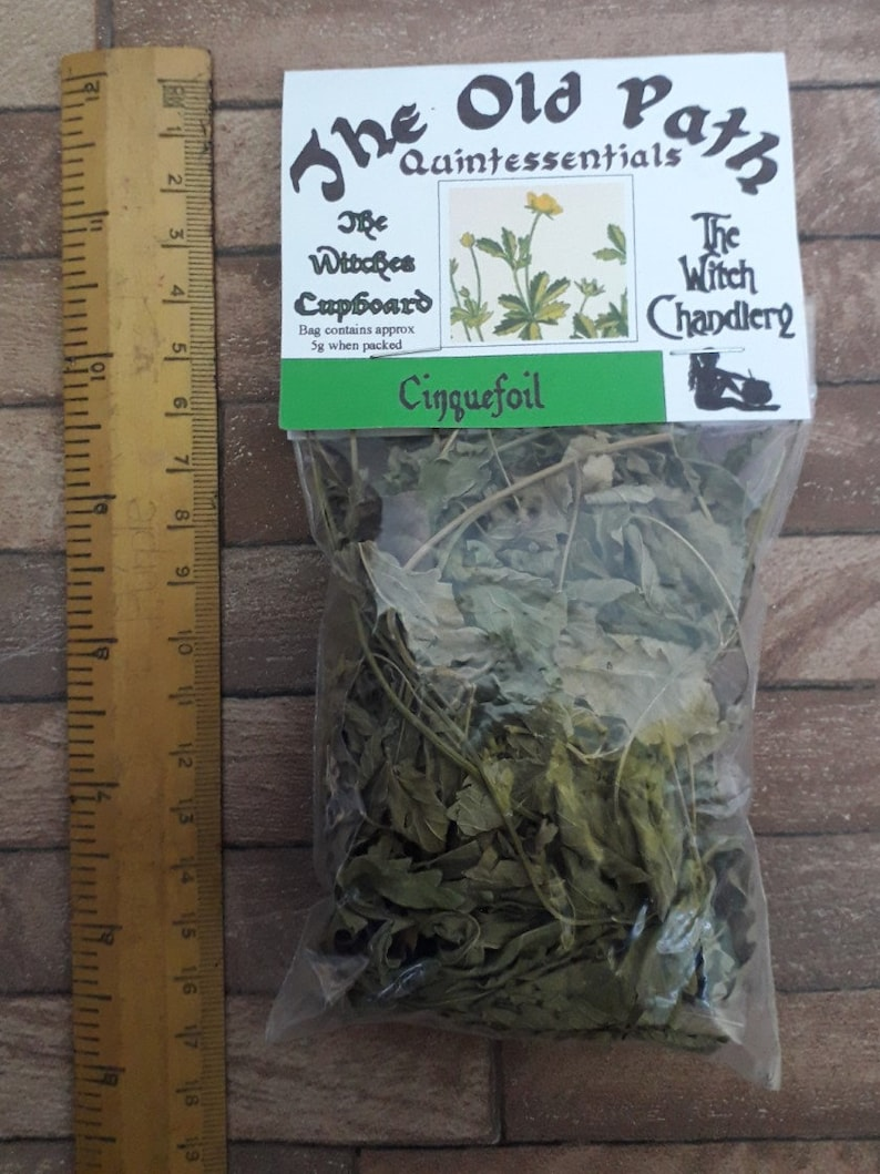 Cinquefoil leaves, witches weed, five fingered grass, flying ointment  spell, hexing spells, prophetic dream spell, hoodoo herbs