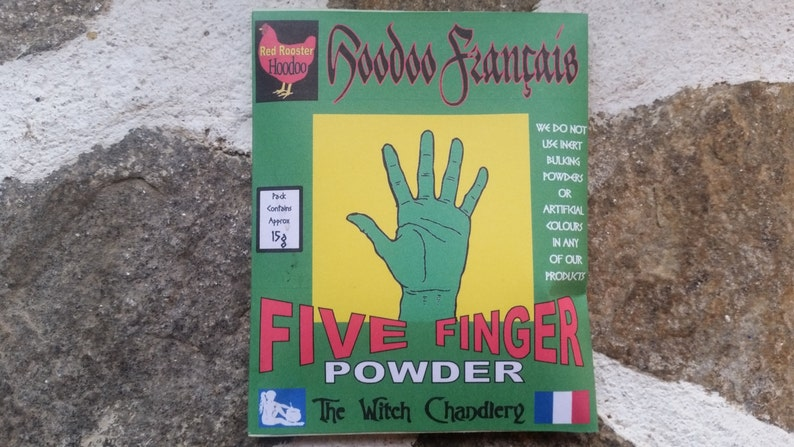 Five Fingered Grass powder, hoodoo herbs for good luck in money matters,  hoodoo powders, warding off evil, love magic, mojo bag herbs