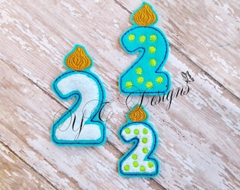 Birthday Number Feltie Candle Two Embroidery File