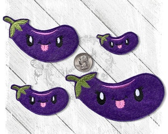 Fruits and vegetables Design for Machine Embroidery Eggplant Applique Design Applique Design for kitchen and cooking Pattern