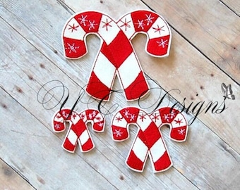 Candy canes Feltie Candy cane Sugared Feltie Embroidery File