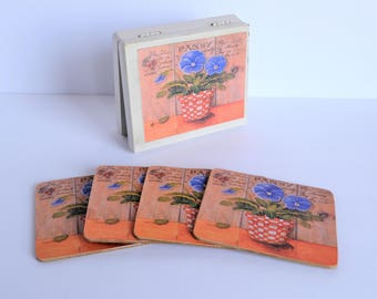 Vintage Blue Pansy Design Chipboard Coasters In Hinged Wood Case