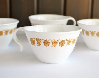 4 Butterfly Gold Coffee Cups and Saucers, Corelle Corning, Vitrelle Hook Handled Cups, Retro Kitchen, Vintage Corning Ware