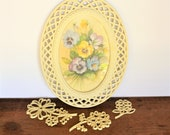 Vintage 4 Piece Homco Fran Anderson Pansy Wall Grouping 1 Oval Acrylic Wicker Lattice Frame w Print 3 Acrylic Floral Accent Pieces