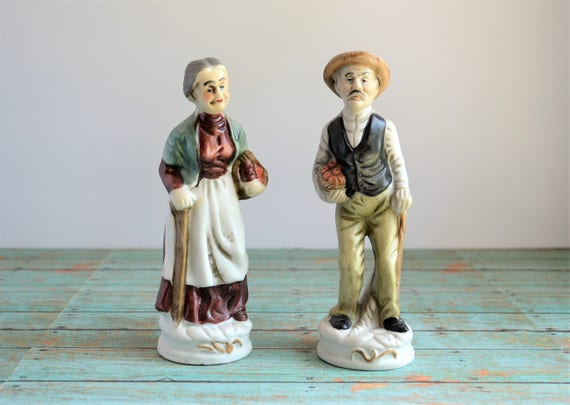 2 Vintage Crown Deville Figurines Old Man And Old Woman Etsy