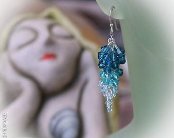 Blue Waterfall Swarovski Crystal 925 Sterling Silver Cascade Ombré Earrings