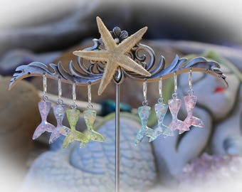 Mermaid Tail Glow Resin Earrings on 925 Sterling Silver Leverbacks