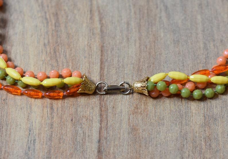 Pea Green Vintage Bead Yellow Peach Orange Long Necklace