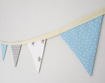 Blue and Grey Mini Fabric Bunting, stars, spotty, new baby, baby shower, children's bedroom, christening, baby gift
