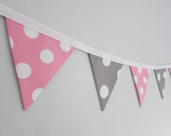 Pink and Grey Mini Fabric Bunting, cake smash, baby shower, nursery, baby girl, girl's birthday garland, photography prop, girl's bedroom