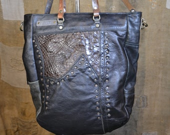 64bb17c2abee RECYCLE LEATHER BAG    Cocco insert    Leather Purse    Handmade in Italy     Vintage Recycle Hob    Eco-friendly Product    Janka Cocco Hobo