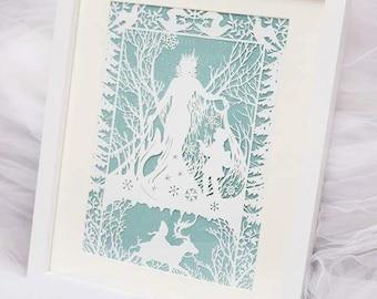 Snow queen framed paper cut