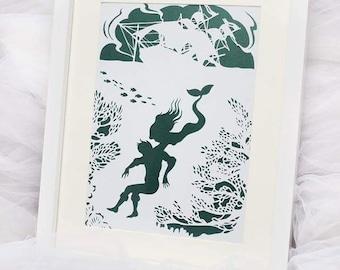 little mermaid framed paper cut