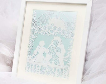 Beauty and the beast framed paper cut