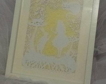 framed alice in wonderland paper cut
