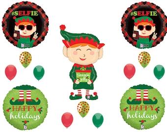 ELF SELFIE CHRISTMAS Party Balloons Decorations Supplies Shelf Parade Santa