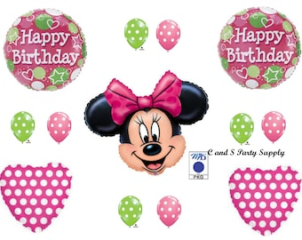 MINNIE MOUSE & Polka Dots Happy Birthday Party Balloons Decorations Supplies