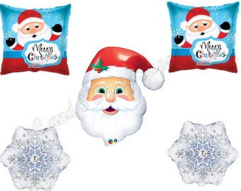 SANTA MERRY CHRISTMAS Snowflake Balloons Birthday party Decoration Supplies Parade