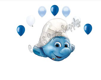 CLUMSY The SMURFS Happy Birthday Party Balloons Decorations Supplies 8 pcs