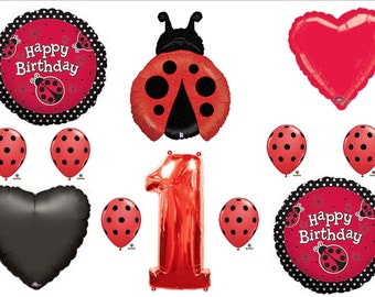 First 1st LADYBUG RED POLKA Dots Happy Birthday Balloons Decoration Supplies